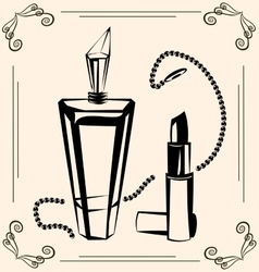 vintage perfume and lipstick vector image vector image