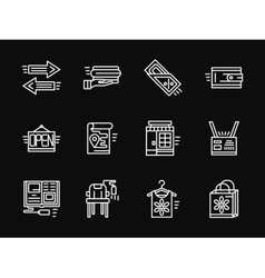 White simple line online shopping icons vector image