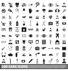 100 care icons set simple style vector image vector image
