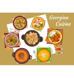 Georgian cuisine traditional rustic dinner icon vector