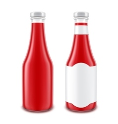 Red ketchup bottle for branding without with label vector