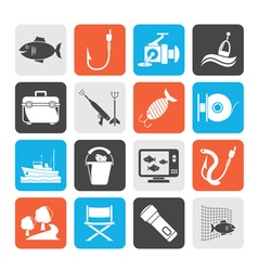 Silhouette Fishing industry icons vector image