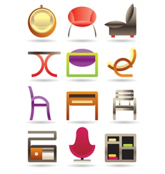Contemporary home furniture icons set vector