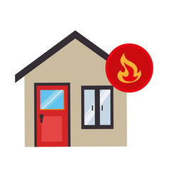 House with fire flame isolated icon vector