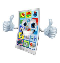 smiling mobile phone mascot vector image