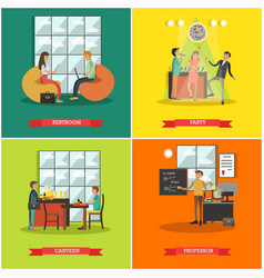 Set of college posters in flat style vector