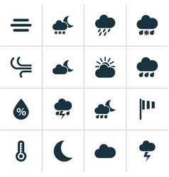 Weather icons set collection of sun-cloud haze vector