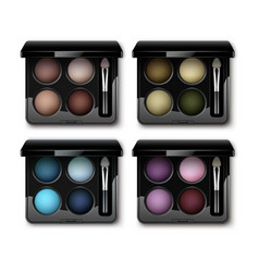 Set of multicolored eye shadows in case applicator vector