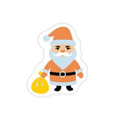 Paper sticker on white background santa claus vector