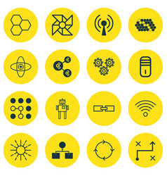 Set of 16 robotics icons includes recurring vector