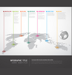 Infographic light world map with pointer marks vector