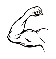 black thin line strong arm vector image