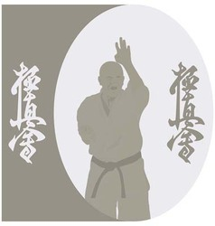 The the man shows karate on a gray background vector