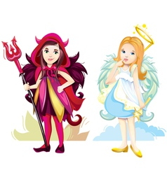 Angel and imp girls vector