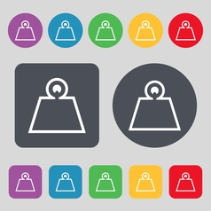 Weight icon sign a set of 12 colored buttons flat vector
