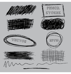 Set of grunge pencil pen-like strokes vector