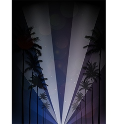Palm trees silhouettes reflection vector