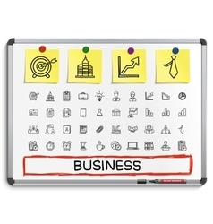 Business hand drawing line icons vector