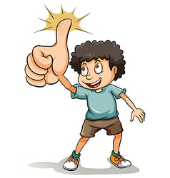 A boy showing his thumb vector image vector image