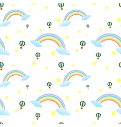 A seamless design with rainbows and floating vector image vector image
