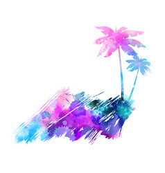 Abstract painted splash shape with palm vector