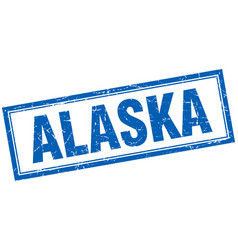 Alaska blue square grunge stamp on white vector