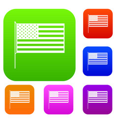 american flag set collection vector image