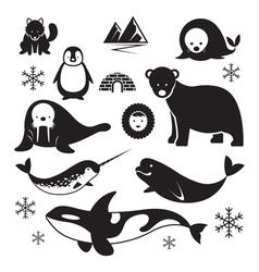 Arctic animals silhouette set vector