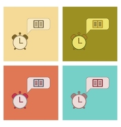 assembly flat icons book alarm clock vector image