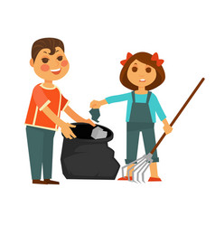 Boy and girl take away rubbish isolated vector