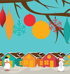 Christmas design over landscape background vector image vector image