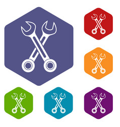 crossed spanners icons set vector image vector image