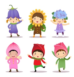 Cute kids wearing flowers costumes vector image vector image