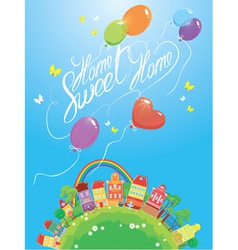 Decorative colorful houses trees rainbow vector image vector image