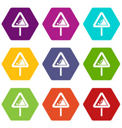 falling rocks warning traffic sign icon set color vector image