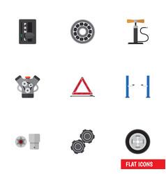 Flat icon service set of brake disk motor wheel vector