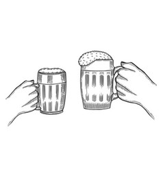 hand holding a full glass of beer vector image