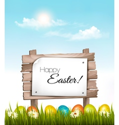 Happy easter background easter eggs and wooden vector