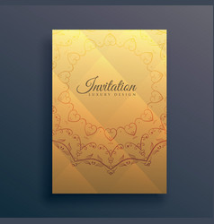 Invitation flyer design with mandala decoration vector