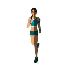 Jogging girl cartoon shadow vector