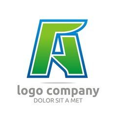 Letter a alphabet green company symbol icon vector