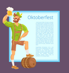 Oktoberfest poster depicting bearded man with mug vector