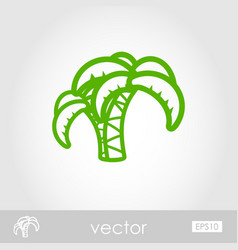 Palm tree outline icon summer vacation vector