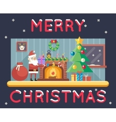 Room cristmas new year santa claus icons greeting vector