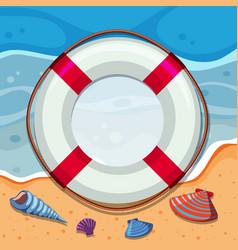 Round border with seashells on beach vector