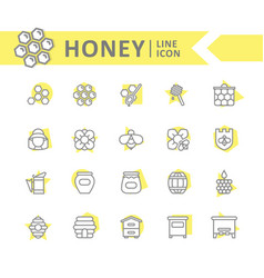 set of honey line icons bee honeycomb vector image