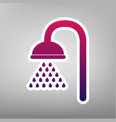 Shower sign purple gradient icon on white vector