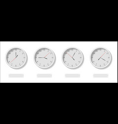 The four clock faces with the different time and vector