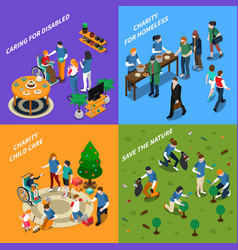 volunteer charity people icon set vector image vector image