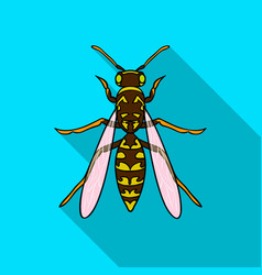 Wasp icon in flat style isolated on white vector